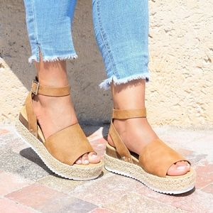 Espadrille Wrap Flatform Wedges - Tan
